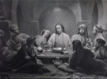 "ANTIQUE LARGE PRINT JESUS DISCIPLES LAST SUPPER 40"" X 31"" E GOODWYN LEWIS THOMAS"